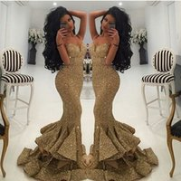 2018 New Designer Sparkly Gold Sequins Mermaid Prom Dresses ...