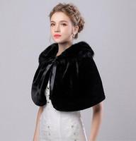 In Stock Black Bridal Wraps Fake Faux Fur Hollywood Glamour Wedding Jackets Street Style Fashion Cover up Cape Stole Coat Shrug Shawl Bolero