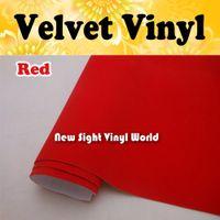 Kırmızı Süet Vinil Wrap İç Dekorasyon Için Kırmızı Kadife Vinil Sticker Hava Ücretsiz Kabarcık Boyutu: 1.50 * 15 M / Rulo