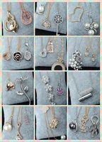 Stoklar rastgele tarzı 50 adet narin Altın / gümüş / gül altın kristal inci Klavikula kadın Lady / kız kolye Lüks parlak kolye