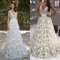 Berta 2018 Wedding Dresses Spaghetti Neck Beads 3D- Floral Ap...