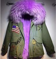 Lavender fur trim Meifeng brand rabbit fur lining army green mini parka USA Flag Beading furs cold snow jackets Rivet with raccoon fur