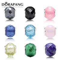DORAPANG géométrique Facettes 100% 925 Charm en argent sterling européenne en verre de Murano Perles Fit bricolage Bracelet Bracele Bijoux cadeau