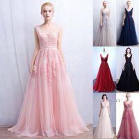 Vestidos de Novia A Line Sexy Tief-V Back Perle Spitze Lange Tüll Abendkleider Backless Ribbon Bunte Blush Pink Prom Kleider Gowns CPS304