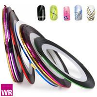 Gros-5 rouleaux / lot couleurs MIX bande rouleau ruban métallique fil ligne autocollant Nail Art fil décoration manucure pédicure Livraison gratuite