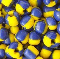 Neue Art stripy Muster Glas Seed Beads undurchsichtiges Glas Schmuck DIY Perlen über 4mm Perlen blau / gelb