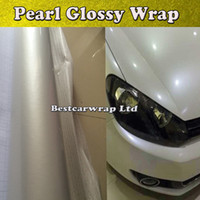 Glansig Pearl White Vinyl Wrap med luftbubbla Gratis Glans Pearlecent Film för bil Styling Vehicle Tuning Size 1,52 * 20m / Roll