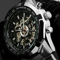 Hot 2021 gagnant marqueur de luxe sport homme squelette automatique montre militaire mécanique Hommes en acier en acier inoxydable bande reloj