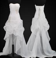2014 Appliques 구겨진 주름 장식 라인 비치 웨딩 드레스 100 아래 낮은 낮은 Organza 레이스 최대 신부 드레스 가운 저렴한 패션