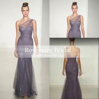 Real image Silver Bridesmaid Dresses Amsale One Shoulder She...