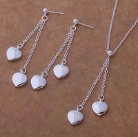 Мода Шарм кулон 2 сердце висит 925 серебряные серьги ожерелье ювелирные наборы 10 компл. / лот
