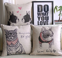 European style Bulldog cat pattern cushion cover for sofa li...