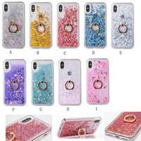 Quicksand Bling Flüssige Diamantfolie Glitter Harte PC Fall Für Iphone XS MAX XR 10X8 7 6 TPU + Metall Fingerring Pailletten Sparkle Halter Abdeckung