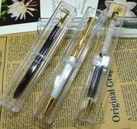 الجملة 50pcs مصنع للبيع المباشر للمربع الكريستال القلم حالة من رصاص واضح هدية قلم مدرسة القضية وازم القرطاسية القلم