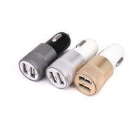 듀얼 USB 차량용 충전기 작은 탄알 합금 LED 가벼운 동기화 충전 어댑터 범용 아이폰 삼성 휴대 전화에 대한