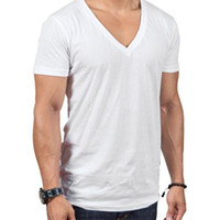 Vêtements homme T-shirt de base de l'été avec col en V Coton Sada Coton Casual Blanc Blanc Casual Black Gris Style Gym Casual Tops Tee Run Petit M120