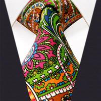 U31 paisley multicolor rojo verde amarillo azules corbatas corbatas 100% seda impresión hecha a mano nuevo
