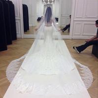 Ким Кардашян белый фату Тюль Хем Шнурок Аппликации вуаль венчания 2021 новое прибытие 3 метра По крайней мере