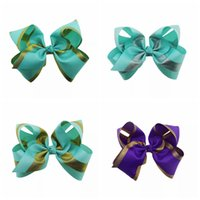 8 Inch Jojo Bows Gold Shimmery Hair Bows With Alligator Clip...