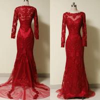 고품질 진짜 사진 드레스 붉은 인어 이브닝 가운 환상의 목 긴 소매 페르시 자수 선전 포멀 파티 플러스 사이즈