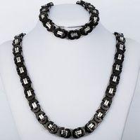 Best Quality Jewlery Set 8mm Black Silver Flat collana a catena bizantina bracciale in acciaio inossidabile 316L per marito / padre regalo gioielli