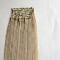 120G 10 stücke / 1 satz Clip in haarverlängerungen 18 20 22 inch 613 # / Bleach Blonde Gerade Remy menschenhaarverlängerungen