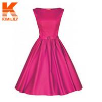 Wholesale-2015 Audrey HepburnスタイルのドレスO-Neckヴィンテージカジュアルパーティーローブロックビリー50Sビッグスイングドレス#A6521