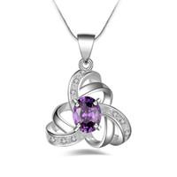 Gratis verzending Mode Hoge Kwaliteit 925 Zilveren Pierced Hexagram Purple Diamond Sieraden 925 Silver Necklace Valentijnsdag vakantie geschenken 1672