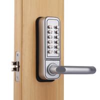 Teclado sin llave mecánica de madera botón Push entrada manija cerradura de la puerta
