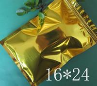 100 Pz / lotto sacchetti di perforazione foglio di alluminio chiusura a scatto sacchetti di imballaggio FOOD dorato cerniera superiore fogli di alluminio sacchetto 16 * 24 cm