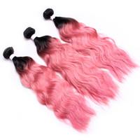 젖은 그리고 물결 모양의 인간의 머리카락 묶음 최고 판매 Ombre 인간의 머리카락 위브 1B 핑크 워터 웨이브 번들 저렴한 두 톤의 옹 브레 브라질 머리카락