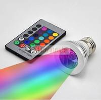 3W il LED RGB 16 che cambia lampadina 3W faretti LED RGB LED lampadina E27 GU10 E14 MR16 GU5.3 con 24 tasti telecomando 85-265V 12V