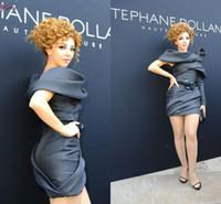 2015 새로운 패션 Myriam FARES 연예인 드레스 한 어깨 루칭 짧은 섹시한 맞춤형 겸손한 검은 저녁 칵테일 가운 vestidos