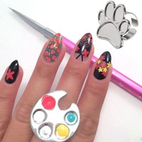 Wholesale- 1 Pcs Mini Finger Nail Art Palette Holder For Fre...