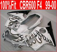 NOVO Preto chama em carenagens motocicleta branca para Honda kit carenagem CBR600 F4 CBR 600 F4 1999 2000 carroçaria XEJI