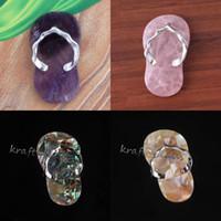 Commercio all'ingrosso 10 pezzi Fashion Design speciale Mix ordine Druzy quarzo cristallo pietra pantofole forma pendente gioielli fascino
