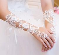 جديد وصول 2019 الربيع اكسسوارات الزفاف الأبيض أصابع الدانتيل قفازات الزفاف قفازات رخيصة سعر الجملة الزفاف