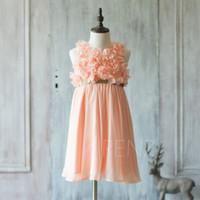 Robe de demoiselle d'honneur junior pêche 2020, robe de demoiselle d'honneur avec ceinture à spaghetti, robe rosette