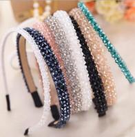 7 цветов творческий блестящий Кристалл современный стиль оголовье повязки для волос для девочек головные уборы 4 строки бусины аксессуары для волос Для женщин 12 шт.