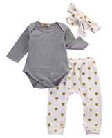 Nouveau-né Bébé Filles Vêtements À Manches Longues Coton Barbotage Or Coeur Pantalon Bandeau 3 PCS Tenues Toddler Enfants Vêtements Set Boutique Filles Ensemble