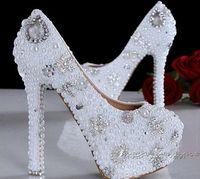 Schöne Pfennigabsatz runde Zehe-Hochzeits-Schuhe arbeiten weiße nachgemachte Perle / Rhinestone-Brautkleid-Schuh-Damen-Abschlussball-Kleid-Pumpen um