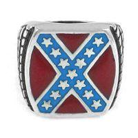 Spedizione gratuita! Anello da uomo classico con bandiera americana, gioielli in acciaio inossidabile, moda, rosso, blu, stelle, motociclista, uomini, anello SWR0270A
