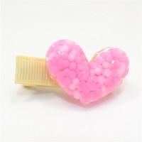 Kid cadeau solide en épingle à cheveux poignées 20pcs / lot acrylique coeur forme cheveux clips en plastique violet Valentine célébration fille barrette résine nouveauté