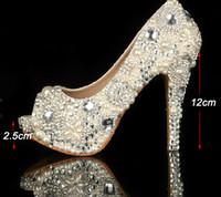 Ivoire Perle Unique Robe De Mariage De Strass Chaussures Peep Toe Chaussures De Mariée À Talons Hauts Imperméable Femme Parti Chaussures De Bal Taille 34-43 Plateformes