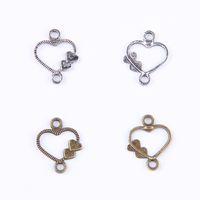 Herz-antikes Silber / Bronze zwei Seite conect Weinlese-Charme-Anhänger-passende Armband-Halsketten-DIY Metallschmucksachen, die 100pcs / lot 401 machen