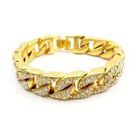 Homens Mulheres Cadeia Hip Hop para fora congelado Curb cubana Ligação de ouro branco pulseira revestida com Limpar Charme Pedrinhas Diamante Bangle Vintage