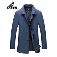 Atacado- FORTEI Men's Thin Casual Trench Coat Estilo Longo Solid Roll-Down Collar Hip Hop Sweat Coat Casaco para homens Long Trench Coat Men