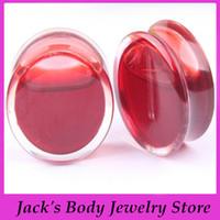 Moda sangre roja líquido túnel carne joyería del cuerpo F86 mezclar 6-16mm 60pcs perforación del cuerpo de enchufe joyas oído acrílico