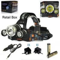 عالية الطاقة 5000lm 3x كري xm-l t6 led للمصابيح الأمامية رئيس مصباح ضوء رئيس الشعلة + 2x18650 + شاحن + شاحن سيارة شحن مجاني