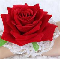 """İnci Bileklik Dia ile SıCAK Kadife Gül Bilek Çiçek. 6.5 cm / 2.56 """"20 Adet Yapay Çiçekler Güller Düğün Gelin Nedime Headdress için"""